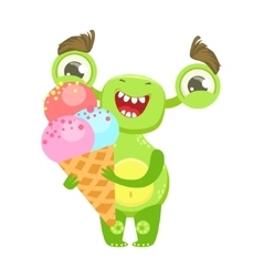 Smiling funny monster holding ice-cream in cone vector