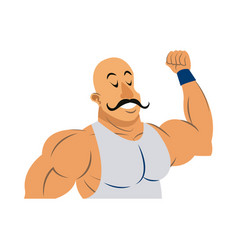 strong man circus character muscle bald with vector image vector image