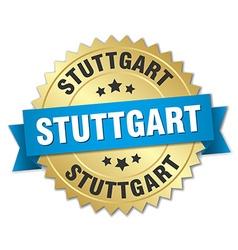Stuttgart round golden badge with blue ribbon vector