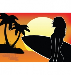 surfer chick vector image