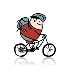 Tourist rides a bike cartoon for your design vector