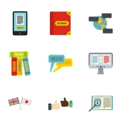 Translation icons set flat style vector