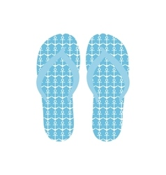 Flip flops slippers with anchors pattern on blue vector