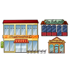Supermarket pub and pawnshop vector image