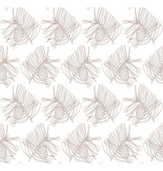Seamless pattern with pine branches and cones vector