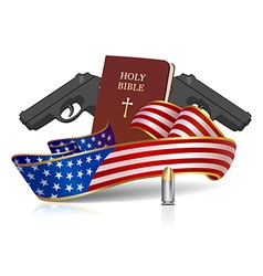 Guns and holy bible vector
