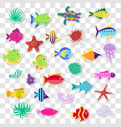 Cute stickers of sea marine fish animals plants vector