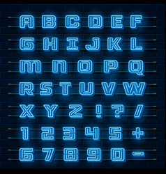 Neon font city neon blue font english city vector