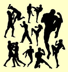 Muay thai duel boxing sport silhouette vector