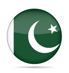 flag of pakistan shiny round button vector image
