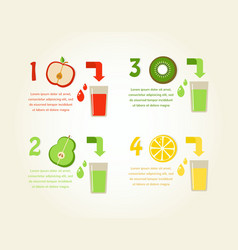 Preparation of healthy fruit juices infographics vector