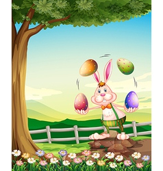 A rabbit juggling the easter eggs vector