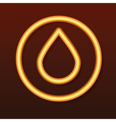 Glowing golden icon Drop in a circle vector image