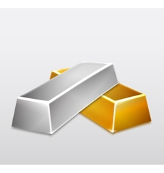 Golden and silver bars on white background vector