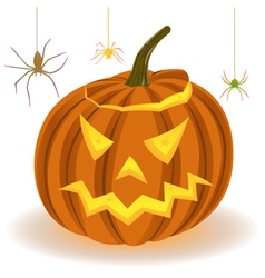 Halloween pumpkin and spiders on the web vector