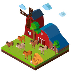 3d design for farm scene with horses and barn vector
