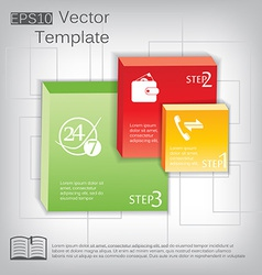 3d square plastic glossy element for infographic vector