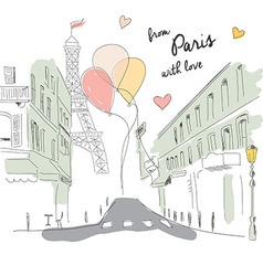 Postcard from paris street eiffel tower balloons vector