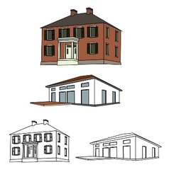 house sketch set 01 vector image