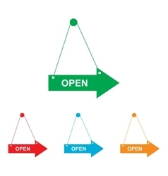 Open sign colorfull set vector