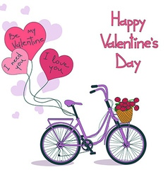 Card for valentines day with bicycle vector