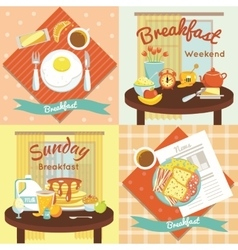 Breakfast flat icon set vector