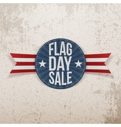 Flag day sale festive label with text and shadow vector