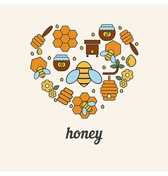 Honey and bee icons in the shape of heart vector