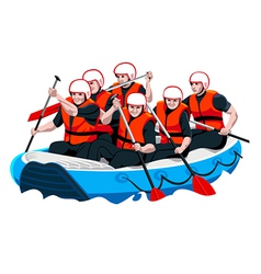 Rafting team vector