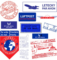 air mail stamp set vector image vector image