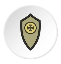 Army shield with cross icon flat style vector
