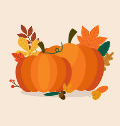 autumn pumpkins and leaves flat design modern vector image vector image