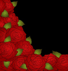black background for a card decorated with roses vector image vector image