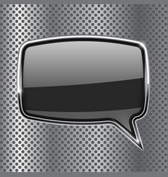 Black square speech bubble with metal frame on vector
