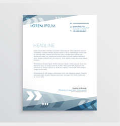 blue letterhead design with geometric lines for vector image