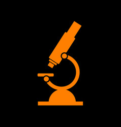Chemistry microscope sign for laboratory orange vector