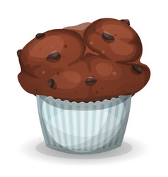 classic american muffin with chocolate chips vector image