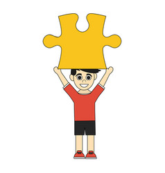 colorful caricature boy with red yellow piece up vector image vector image