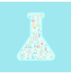 concept education icons in chemistry tube vector image