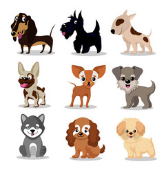 cute happy dogs cartoon funny puppies vector image