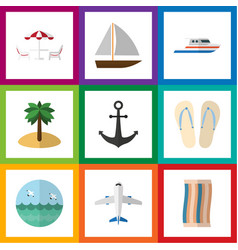 Flat icon beach set of aircraft ocean recliner vector