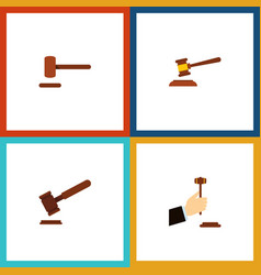 Flat icon lawyer set of justice defense law and vector
