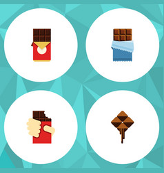 Flat icon sweet set of chocolate bar shaped box vector