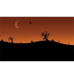 Halloween witch flying in tomb silhouette vector