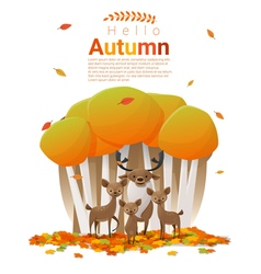 Hello autumn background with deers vector