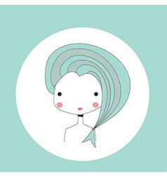 Horoscope Pisces sign girl head vector image