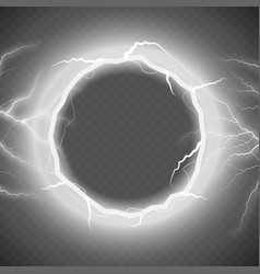 Lightning round text frame on transparent vector