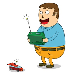Man controlling toy car vector