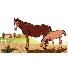 Mare with her foal vector