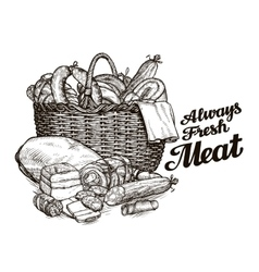 Meat products hand drawn sketches of food vector